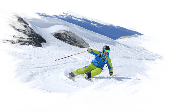 A snoworks skier riding ski slope